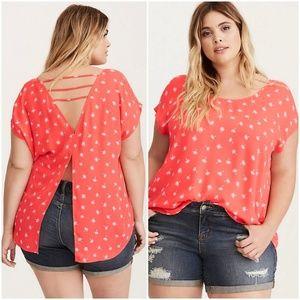 Torrid orange dandelion shirt with open back sz 2X